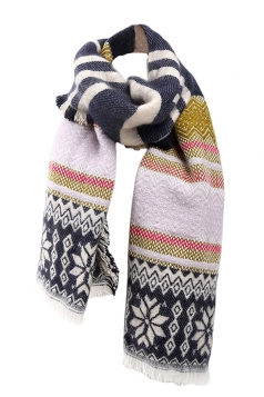 Navy Blue Pretty Ladies Snowflake Knitted Christmas Striped Scarf