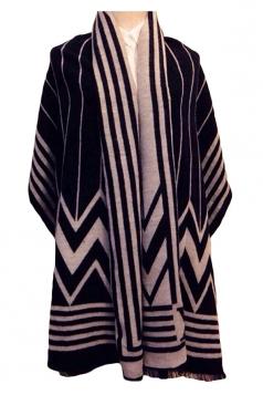 Black Womens Cape Fashion Striped Argyle Scarf
