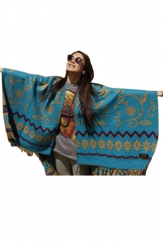 Turquoise Womens Retro Floral Tassels Long Scarf