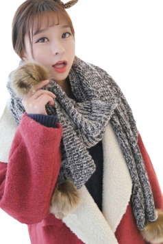 Black Womens Knitted Fancy Warm Chic Scarf