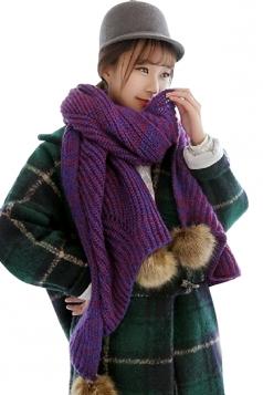 Purple Womens Knitted Fancy Warm Chic Scarf
