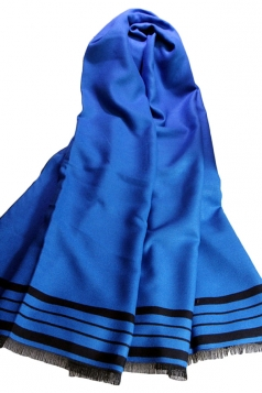 Blue Womens Vintage Striped Cape Casual Scarf
