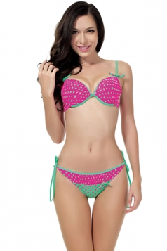 Rose Sexy Polka Dot Bikini Top & Double String Swimsuit Bottom