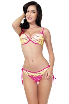 Yellow Sexy Polka Dot Bikini Top & Double String Swimsuit Bottom