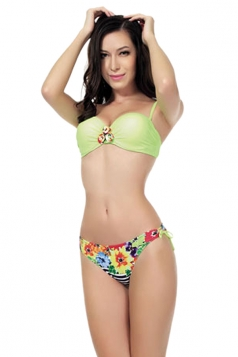 Green Fancy Straps Swimsuit Top & Floral Womens Bikini Bottom