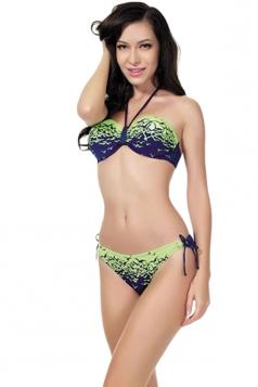 Green Bandeau Womens Bikini Top & Fashion Swimwear Bottom