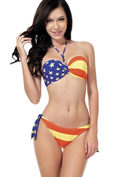 Blue American Flag Bandeau Swimsuit Top & Sexy Swimwear Bottom