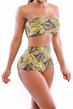 Yellow Vintage Floral Swimsuit Top & High Waisted Bikini Bottom
