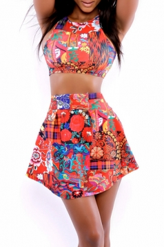 Red Vintage Printed Bikini Top & Cute Skirted Swimsuit Bottom
