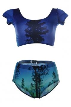 Navy Blue Womens Short Sleeve Galaxy Tree Printed Bottom Tankini