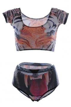 Orange Fashion Ladies Short Sleeve Bottom Tiger Printed Tankini