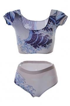 Blue Chic Ladies Short Sleeve Bottom Sea Wave Printed Tankini