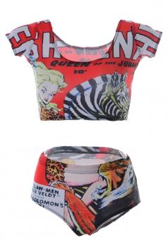 Red Ladies Short Sleeve Beauty Zebra Tiger Printed Bottom Tankini