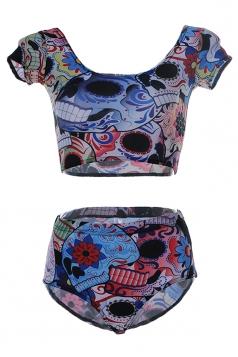 Blue Ladies Short Sleeve Bottom Colorful Skull Printed Tankini