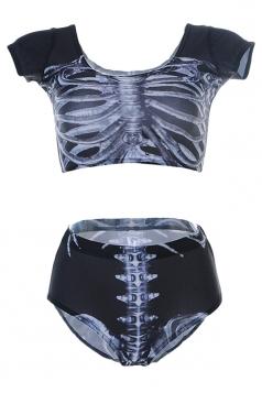 Black Trendy Ladies Short Sleeve Bottom Skeleton Printed Tankini