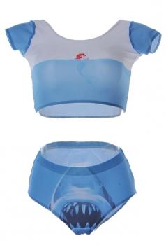 Blue Pretty Lades Short Sleeve Mermaid Sea Printed Bottom Tankini