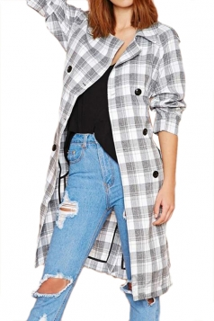 Gray Sexy Womens Plaid Shirt Oversized Pea Over Trench Coat