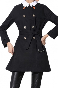 Black Fashion Ladies Swan Collar Pea Tunic Plain Trench Coat