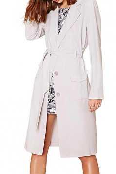 White Sexy Womens Plain Turndown Collar Office Lady Trench Coat