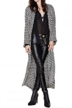 Black Womens Swallow Gird Turndown Collar Cotton Long Over Coat