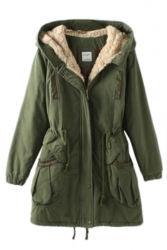 Green Vintage Warm Winter Tunic Hooded Womens Parka Coat