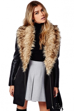 Black PU Leather Fashion Ladies Faux Cashmere Fur Over Coat