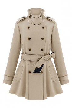 Khaki Ladies Turndown Collar Tunic Pea Coat Chic Trench Coat