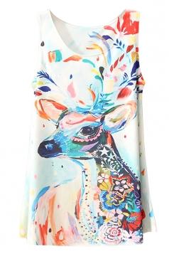 White Colorful Ladies Deer Printed Sleeveless Long Tank Top