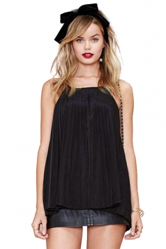 Black Halter Sexy Ladies Backless Pleated Chiffon Top