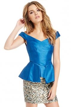 Blue Ladies Off Shoulder Fish Tail Plain V Neck Peplum Top