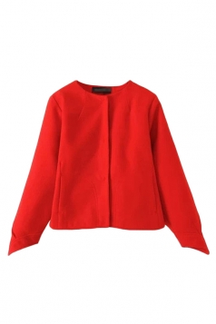 Red Cute Womens Horse-hoof Shaped Cuffs Plain Wool Coat
