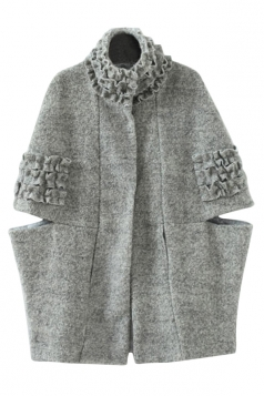 Gray Fashion Womens Plain Pleated Winter Warm Tweed Cape Coat