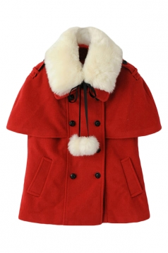 Red Cute Womens Plain Pea Winter Warm Wool Poncho Coat