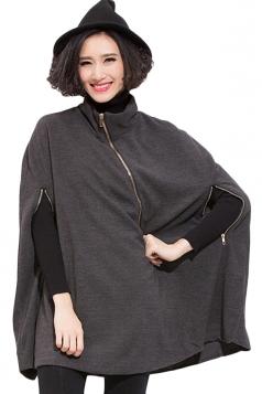 Gray Fashion Womens Wool Zipper Plain Cape Coat