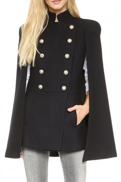 Black Modern Womens Pea Plain Winter Warm Cape Coat
