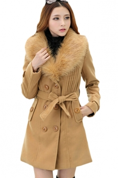 Khaki Trendy Womens Fur Collar Thick Wool Coat
