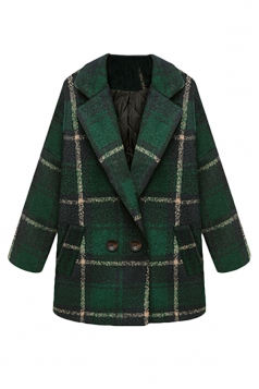 Green Cool Womens Turndown Collar Plaid Warm Tweed Coat