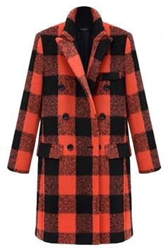 Orange Modern Womens Plaid Turndown Collar Pea Tweed Coat