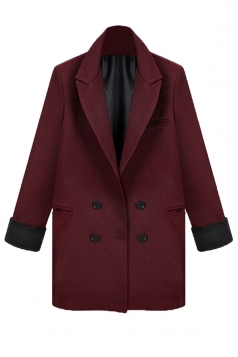 Ruby Chic Womens Pea Plain Turndown Collar Blazer