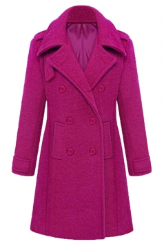 Rose Red Stylish Ladies Plain Turndown Collar Pea Long Tweed Coat