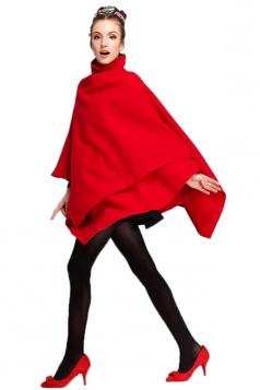 Red Ladies Fancy Chic Poncho Tweed Long Wrap Coat