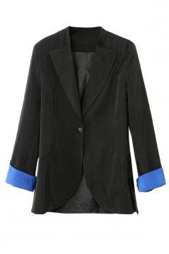 Black Pretty Ladies Long Sleeve Plain One Button Blazer