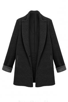 Black Womens Fashion Long Plain Tweed Loose Blazer