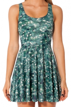 Turquoise Fancy Christmas Tree Printed Womens Skater Dress