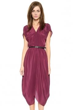 Ruby Womens V Neck Short Sleeve Pleated Plain Bud Peplum Dress