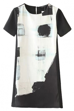 Ladies A-line Short Sleeve Crew Neck Printed Shift Dress