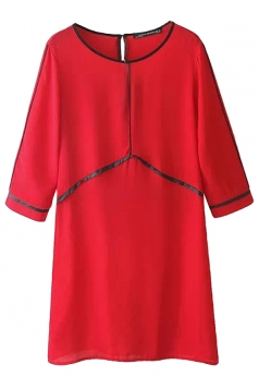 Red Pretty Ladies Crew Neck Half Sleeve A-line Shift Dress