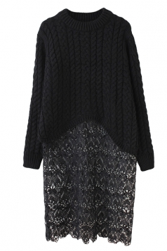Womens Crew Neck Long Sleeve Lace Sweater Patchwork Midi Dress