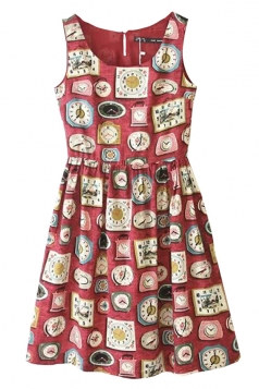 Red Cute Ladies Crew Neck Sleeveless Clock Printed Smock Dress