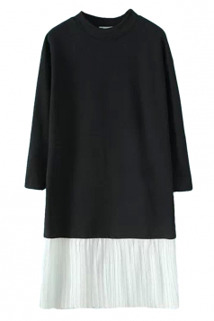 Crew Neck Long Sleeve Color Block Pleated Patchwork Shift Dress